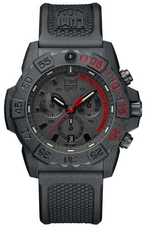 Luminox Mens Navy Seal 3580 Chronograph Black/Red With PU Strap XS.3581.EY