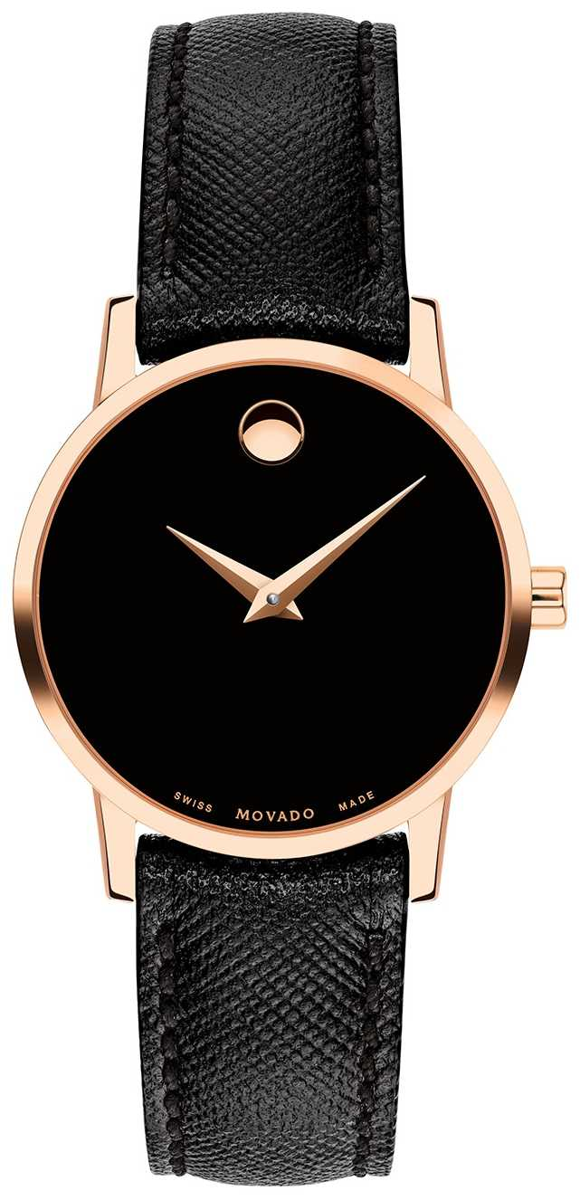 Movado Womens Museum Black Leather Strap Rose Gold 0607206