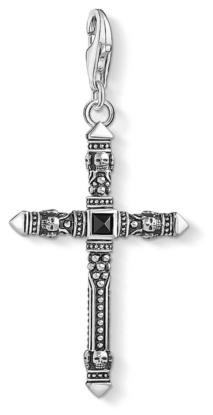 Thomas Sabo Ethnic Cross Black Medium Sterling Silver Charm 1556-507-11