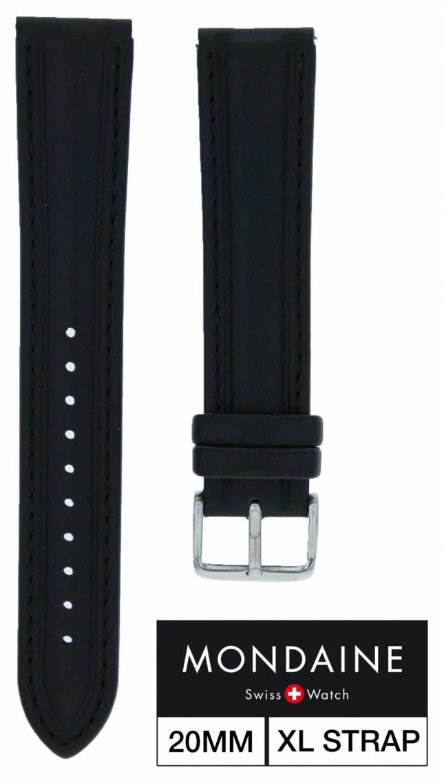 Mondaine Leather Strap Only With Black Stitching – 20mm XL FE1832020QXL