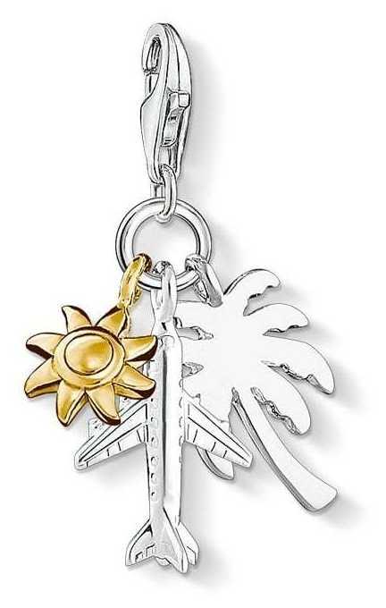 "Thomas Sabo Charm Pendant ""Palm Tree, Sun, Plane"" 1430-413-21"