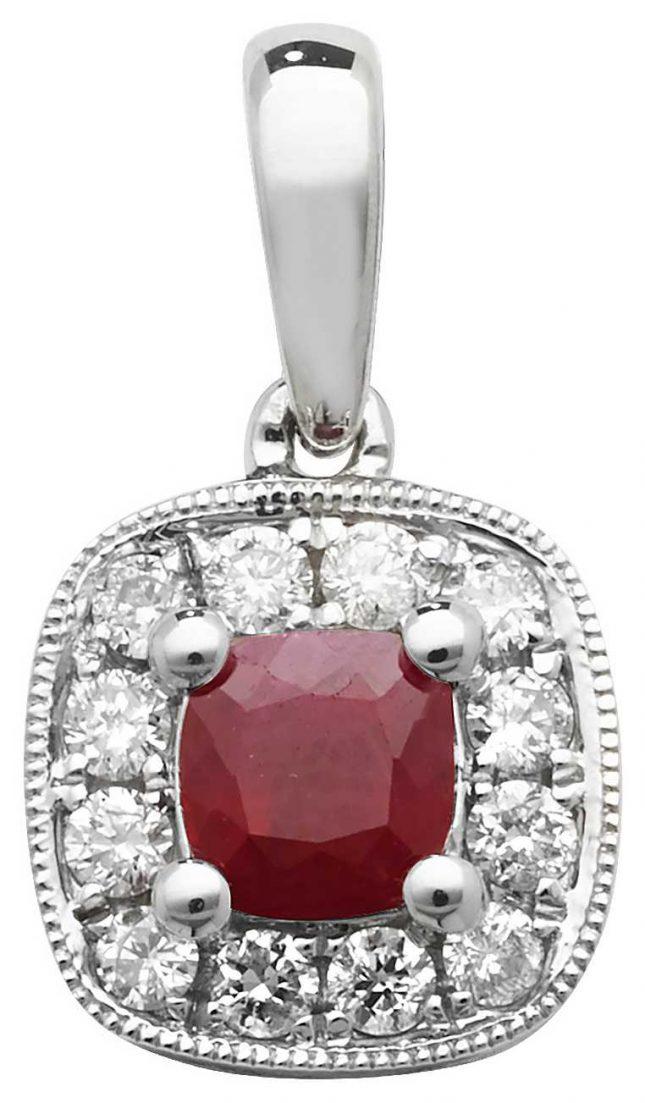 Treasure House 9k White Gold Diamond and Ruby Cushion Pendant PD242WR