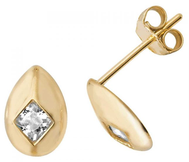 James Moore TH 9k Yellow Gold Cubic Zirconia Oval Shaped Stud Earrings ES484
