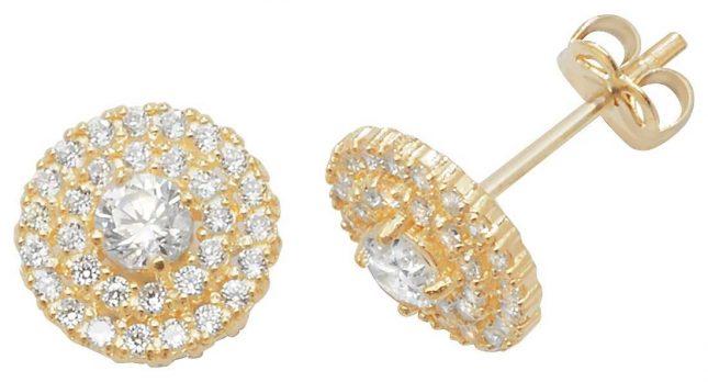 James Moore TH 9k Yellow Gold Cubic Zirconia Stud Earrings ES443