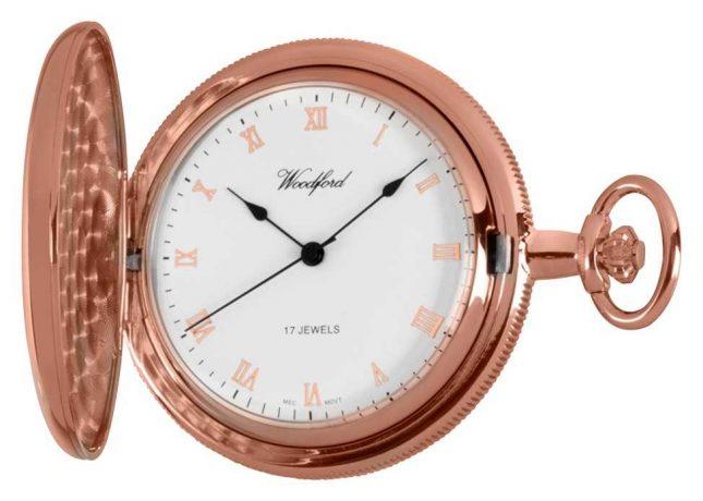 Woodford Full Hunter Rose Gold Pocket Watch 1091