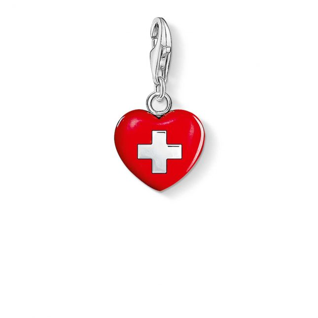 Thomas Sabo Heart Switzerland Charm Red 925 Sterling Silver Cold Enamel 0894-007-10