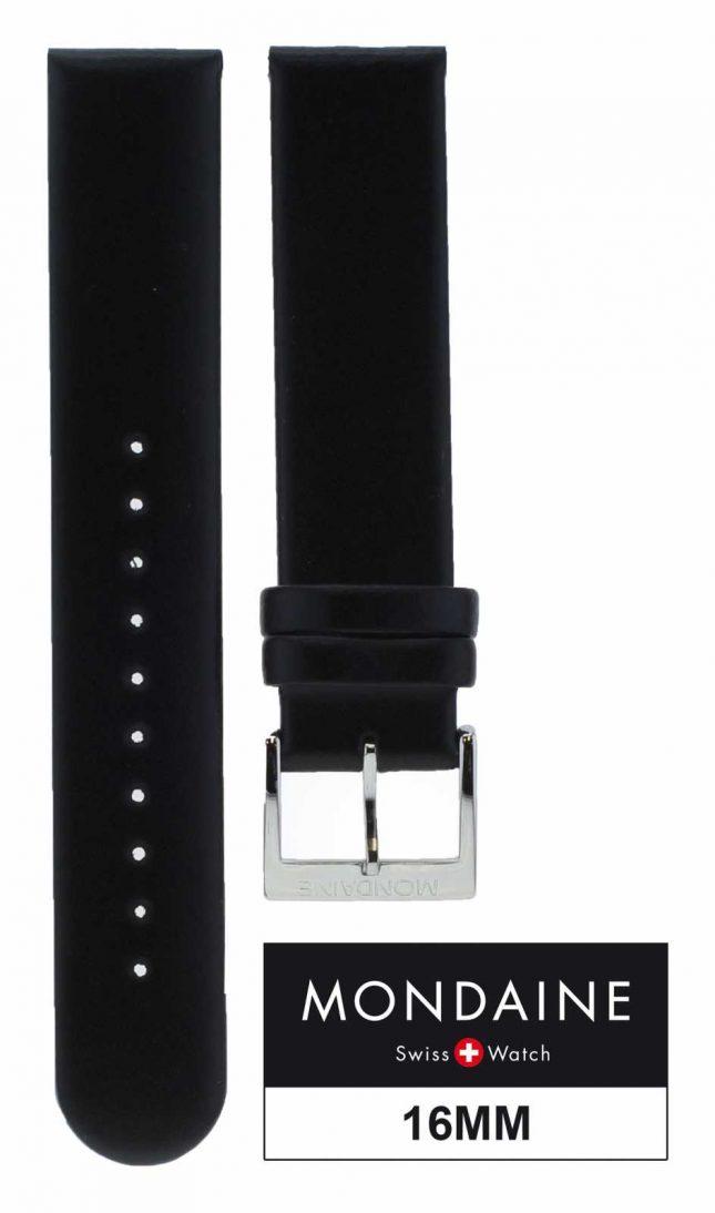 Mondaine Geniuine Leather Black Strap Only 16mm FE311620Q5