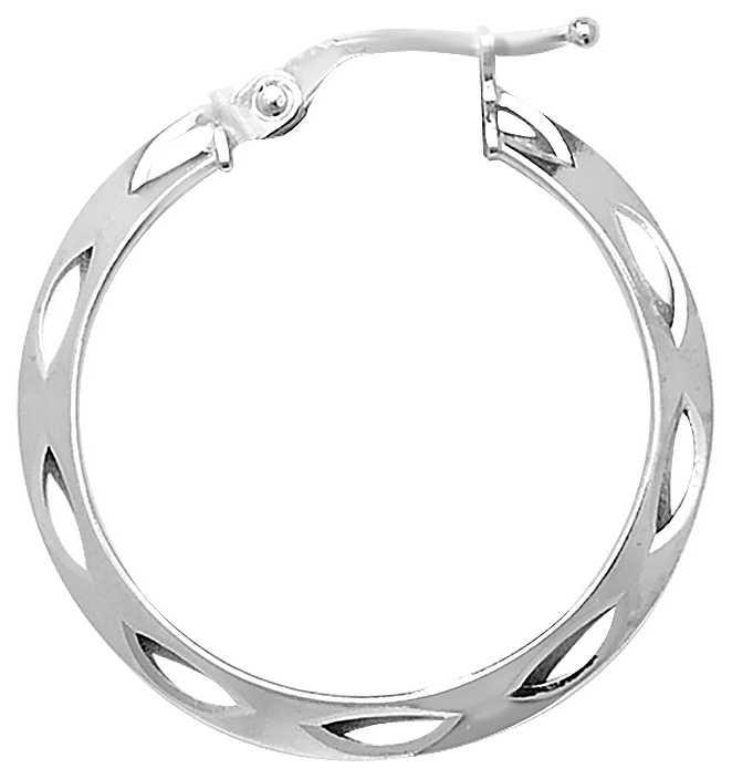 Treasure House 9k White Gold Diamond Cut Hoop Earrings 20 mm ER052W