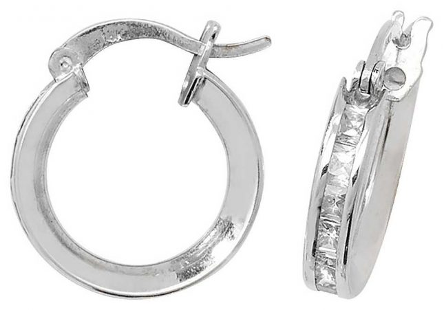 Treasure House 9k White Gold Cubic Zirconia Set Hoop Earrings 10 mm ER086W
