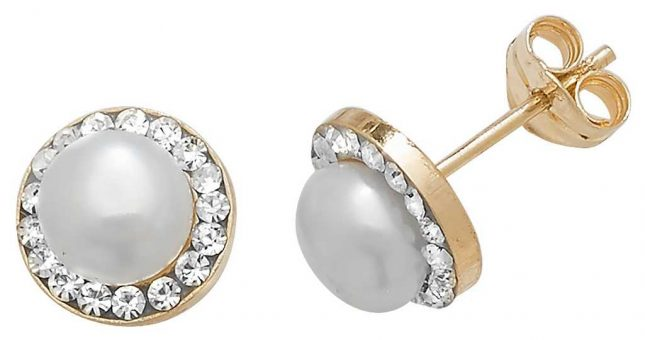 Treasure House 9k Yellow Gold Pearl Cubic Zirconia Stud Earrings ES398
