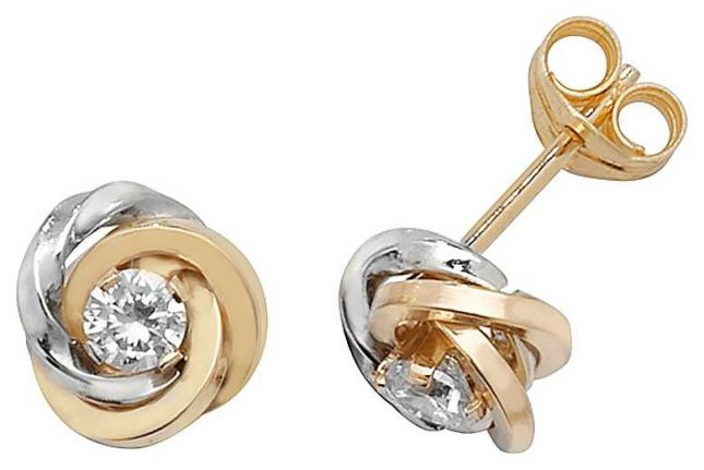 Treasure House 9k White and Yellow Gold Cubic Zirconia Flower Stud Earrings ES372
