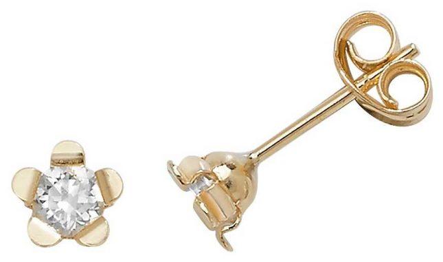 James Moore TH 9k Yellow Gold Flower Cubic Zirconia Stud Earrings ES400