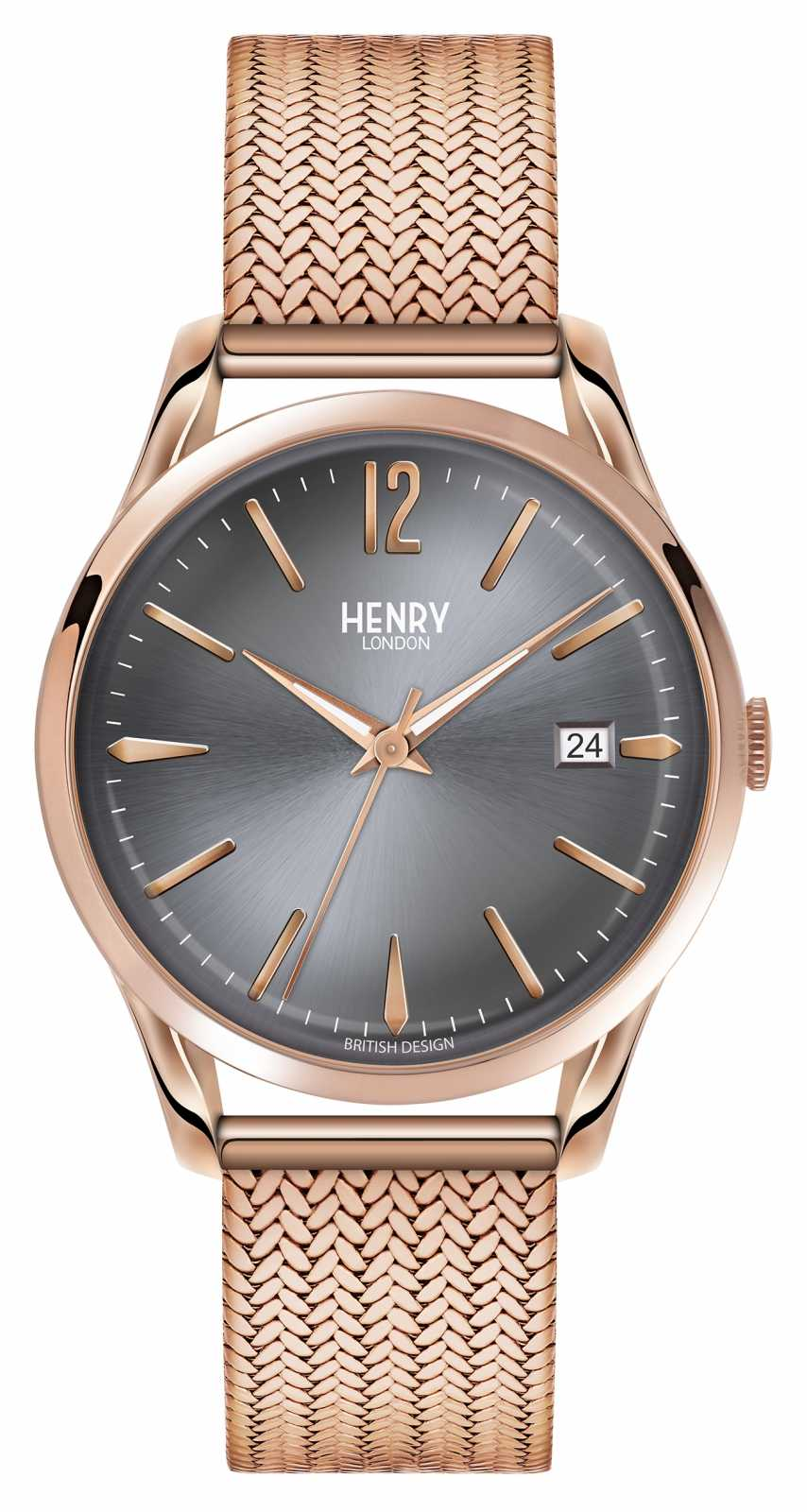 Henry London Finchley Rose Gold Mesh Grey Dial HL39-M-0118