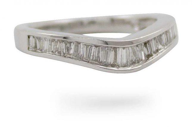 10k W/gold Bagette Cut Dia 0.50ct Ring JM2806