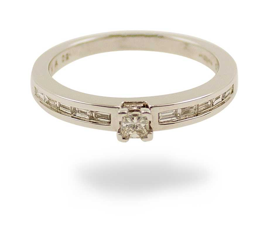 18ct white gold 0.75ct princess cut channel diamond ring JM8039