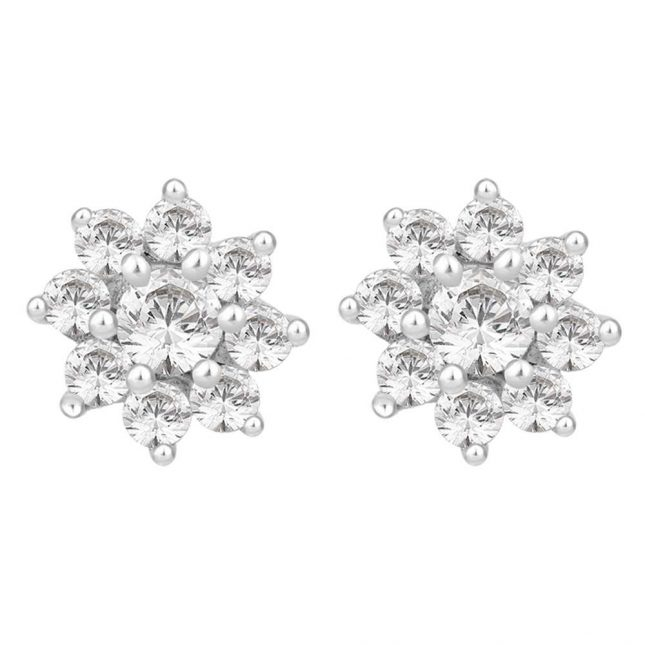 Perfection Crystals Nine Stone Flower Cluster Stud Earrings (1.00ct) E2091-SK