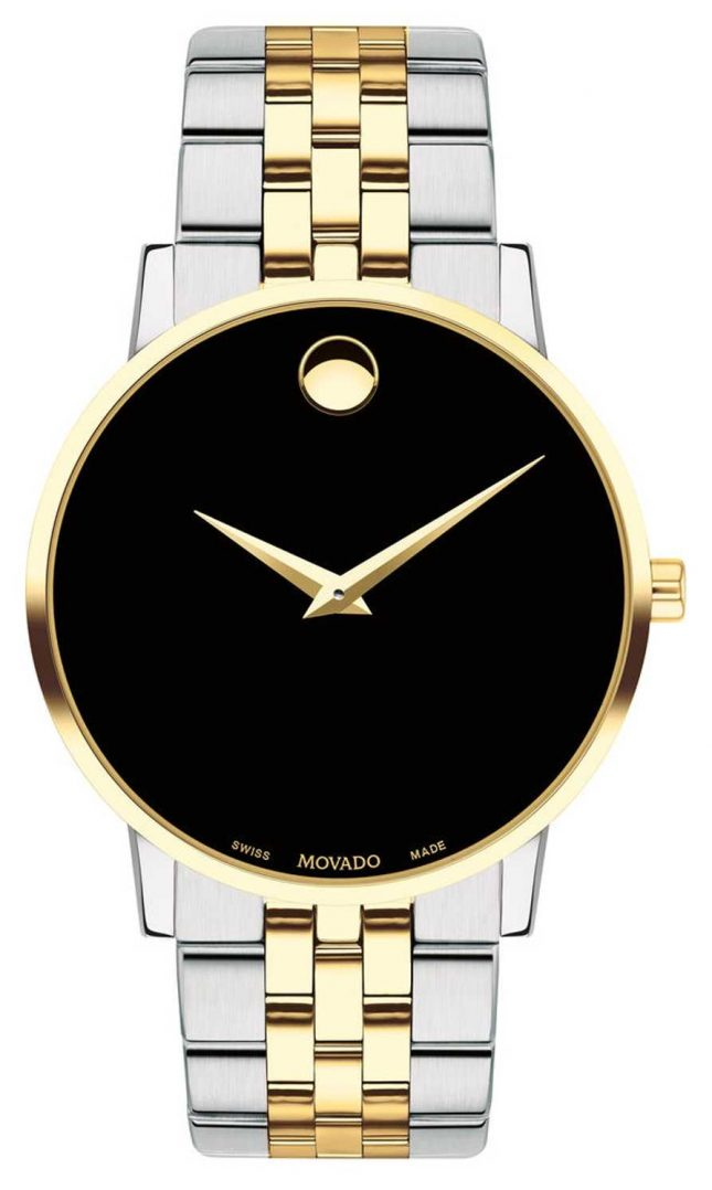 Movado Mens Museum Two Tone Gold Plated Stainless Steel 0607200