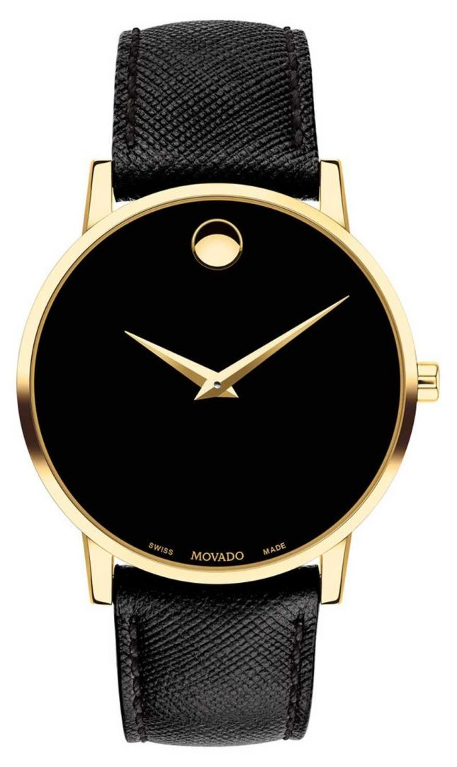 Movado Mens Mueseum Black Leather Gold Plated Case 0607195