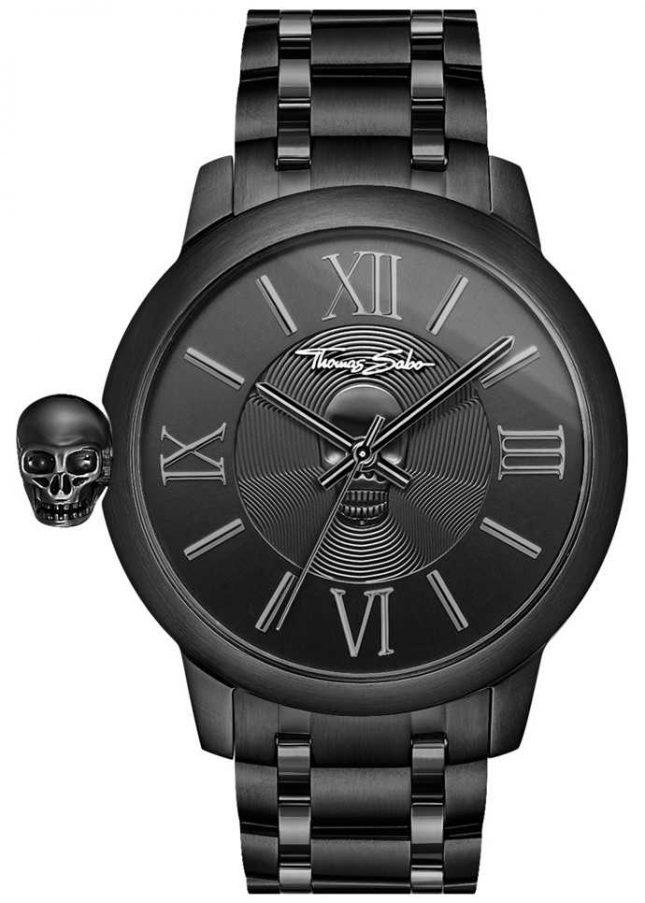 Thomas Sabo Men's Rebel With Karma Black IP Stainless Steel Skull Watch WA0305-202-203