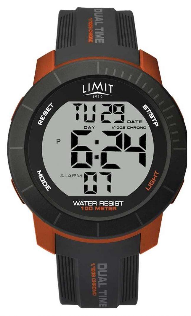 Limit Mens Active Digital Dual Time Chrono Grey/Orange 5676.66