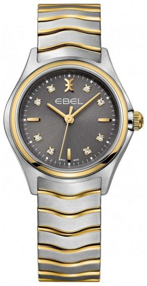 EBEL Women's Wave Diamond Set Two Tone Bracelet Grey Dial 1216283