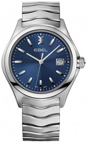EBEL Men's Wave Blue Dial Stainless Steel Bracelet Date Display 1216238