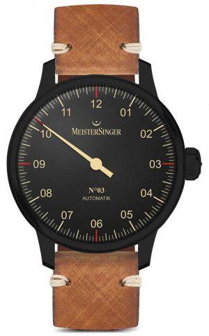 MeisterSinger Single Hand Black Line Light Brown Leather Strap AM902BL