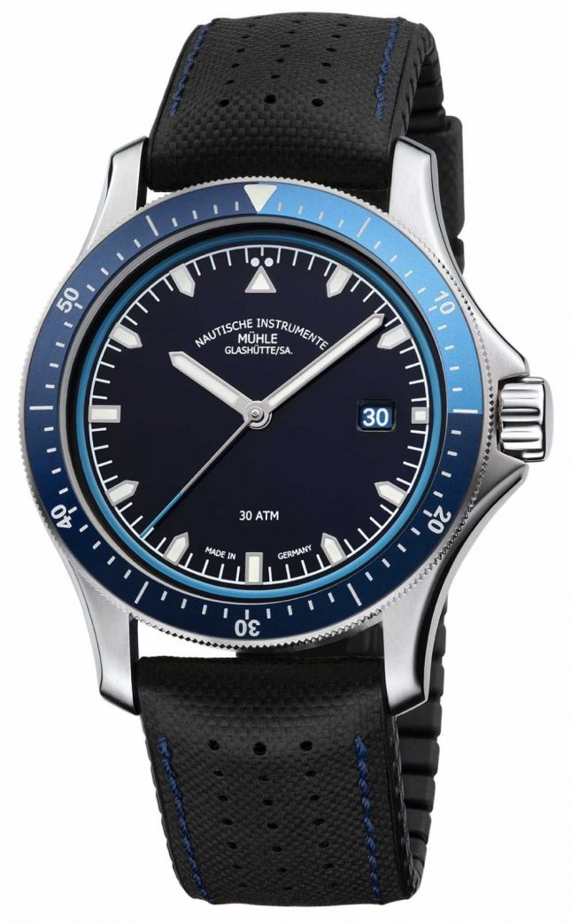 Muhle Glashutte ProMare Go Blue Dial Black Leather/Rubber Strap M1-42-32-NB