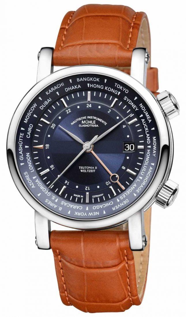 Muhle Glashutte Teutonia II Weltzelt GMT Tan Leather Strap Blue Dial M1-33-82-LB