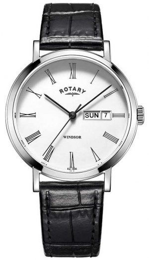 Rotary Mens Windsor Black Leather Strap Watch GS05300/01