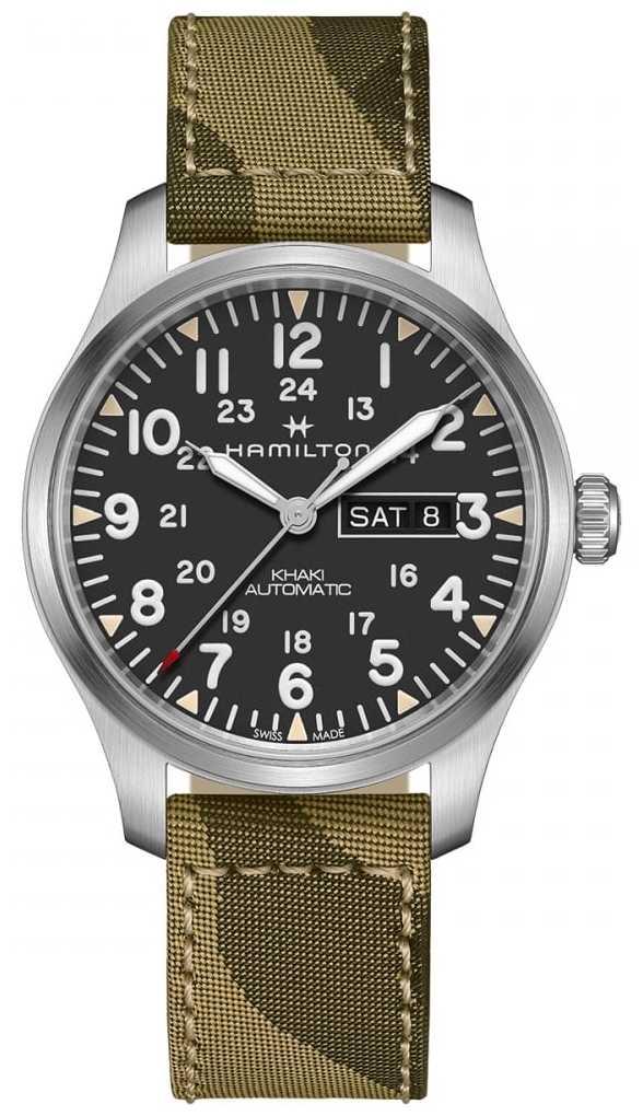 Hamilton Khaki Field Automatic Day Date Canvas Camo Strap H70535031