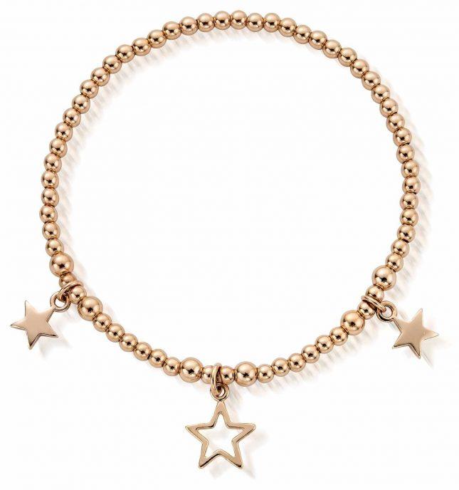 ChloBo Rose Gold Plated Triple Star Bracelet RBSB801