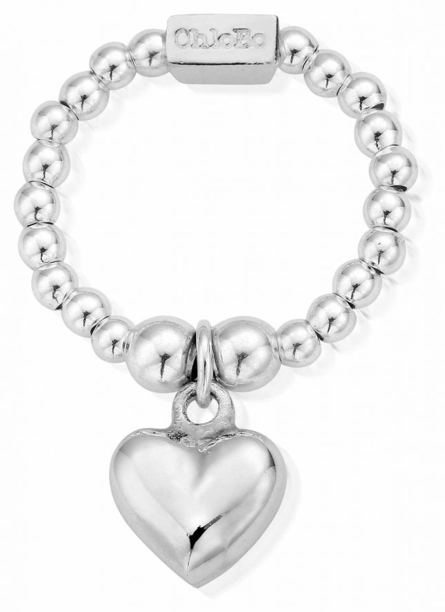 ChloBo Sterling Silver Mini Puffed Heart Ring Medium SRM2023