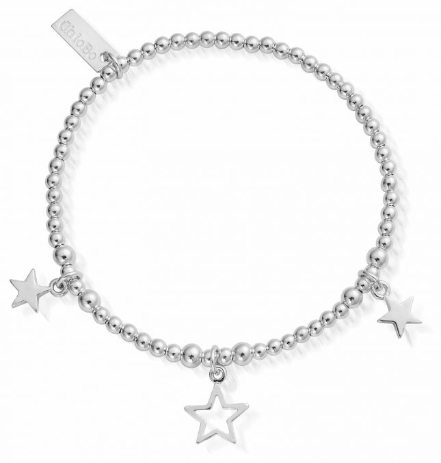 ChloBo 18cm Sterling Silver Triple Star Bracelet SBSB097806
