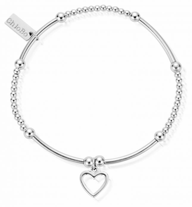 ChloBo Sterling Silver Cute Mini Open Heart Bracelet SBCM007