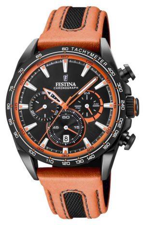Festina Mens Black PVD Plated Chrono Watch Leather Strap F20351/5