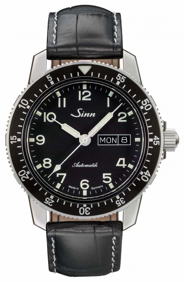 Sinn 104 St Sa A Classic Pilot Watch Black Leather Strap 104.011 BLACK ALLIGATOR EFFECT WHITE STITCH