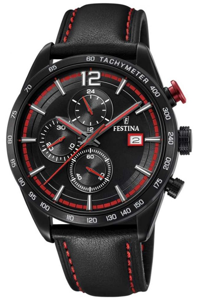 Festina Mens Sport Chronograph Black Leather Strap Black Dial F20344/5