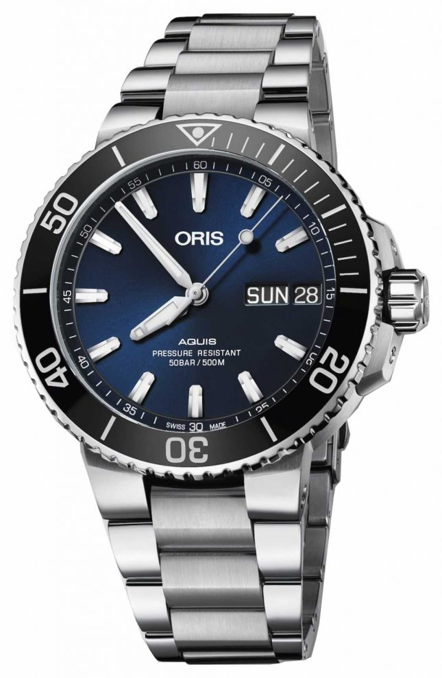 ORIS Mens Aquis Big Day Date Blue Dial Metal Bracelet 01 752 7733 4135-07 8 24 05PEB