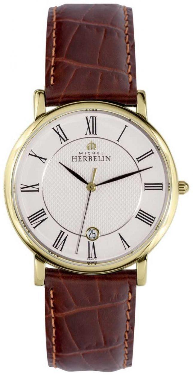 Michel Herbelin Sonates | 38mm | White Dial | Brown Leather Strap 12248/P08MA