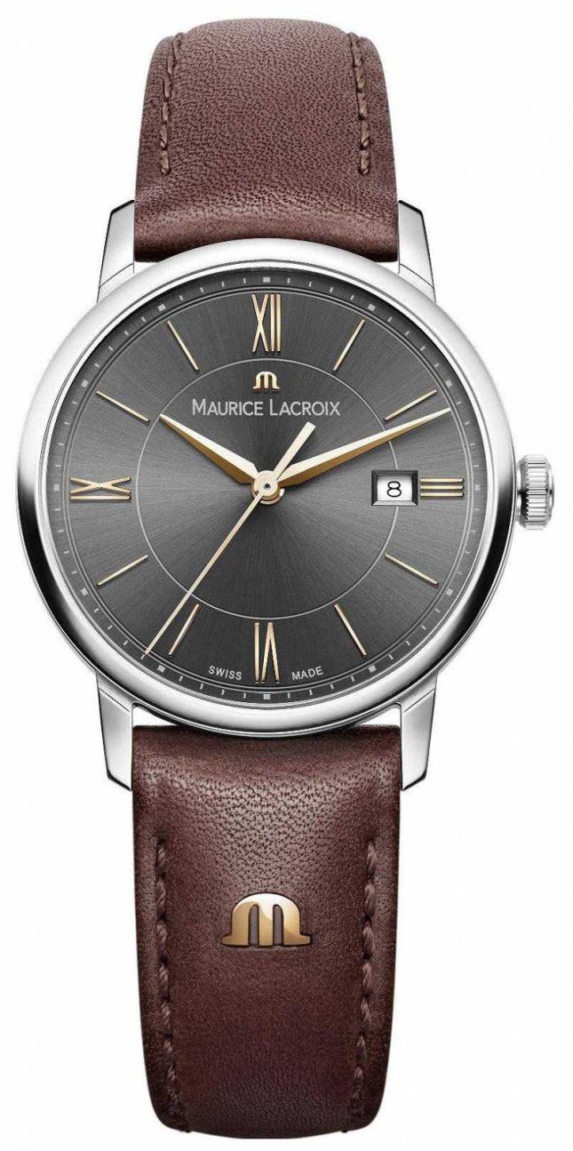 Maurice Lacroix Women's Eliros Brown Leather Strap Black Dial Gold Accents EL1094-SS001-311-1