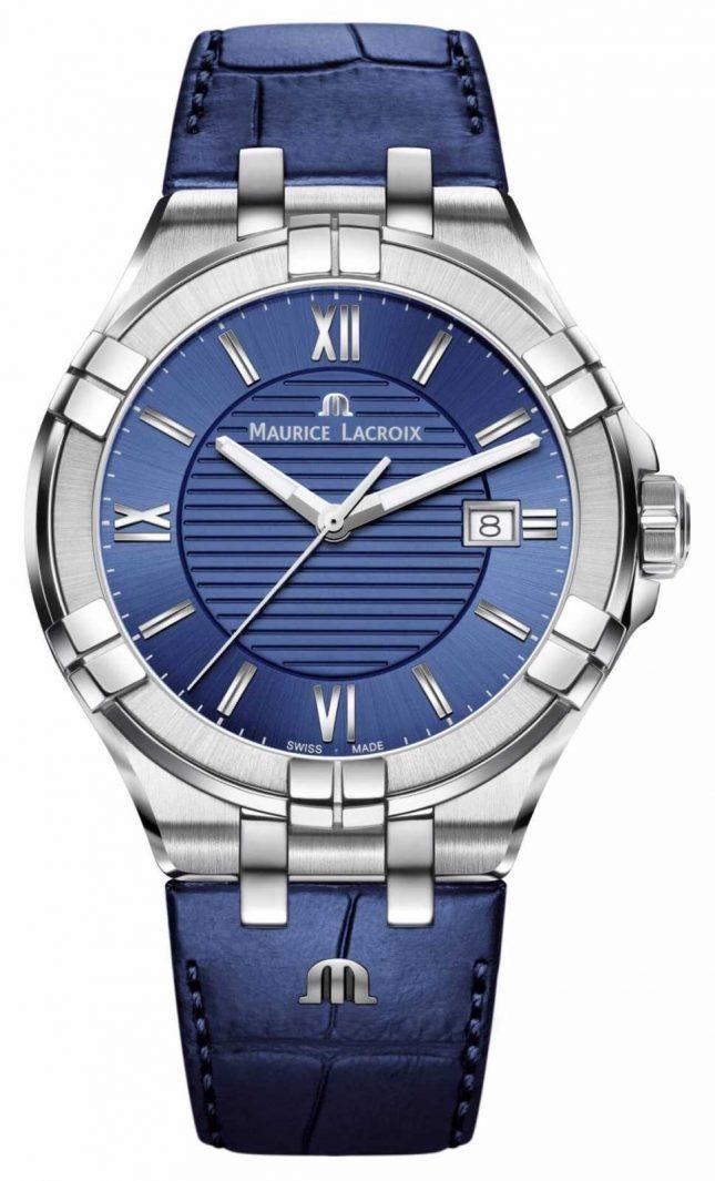 Maurice Lacroix Aikon 42mm Men's Blue Dial Blue Leather Strap AI1008-SS001-430-1