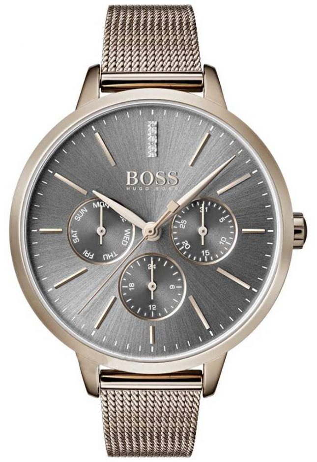 BOSS Symphony Grey Dial Day & Date Mesh Strap 1502424