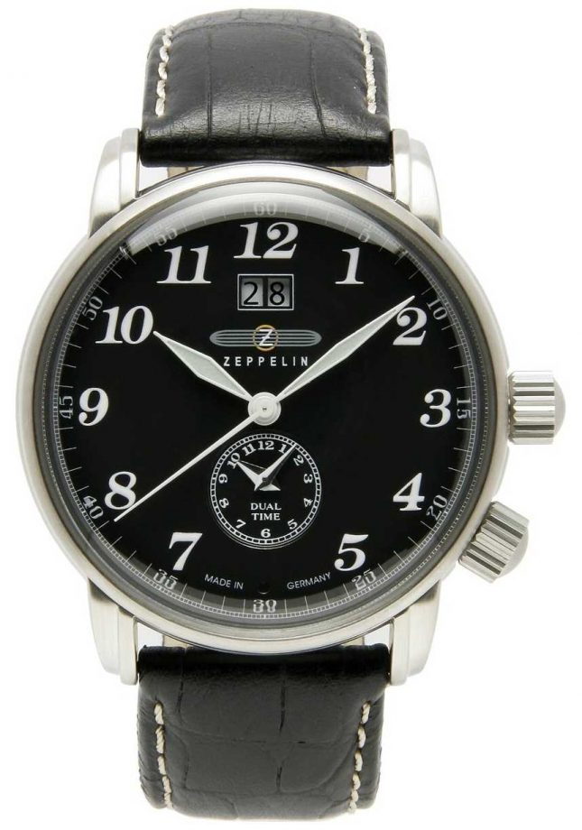Zeppelin Count Dual Time Big Date Display Black Dial Black Leather 7644-2