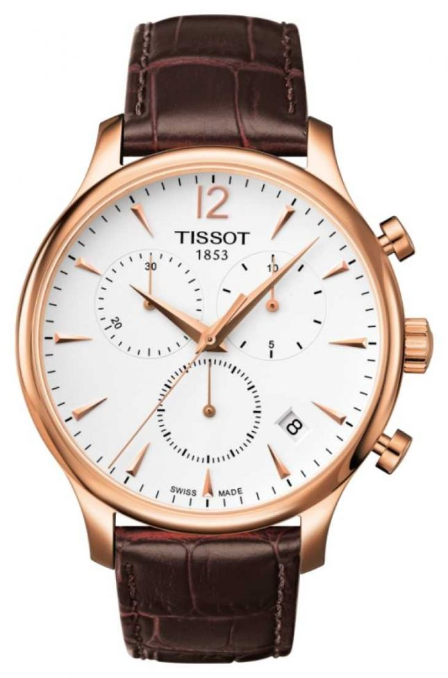 Tissot Mens Tradition Chronograph Rose Gold Plated Brown Leather T0636173603700