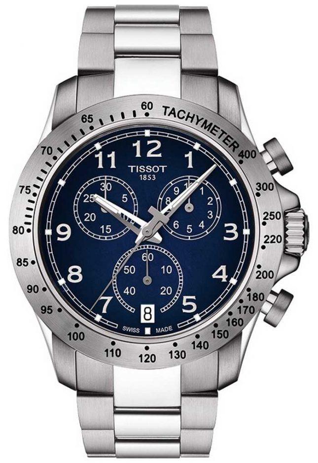 Tissot Men's V8 Quartz Chronograph Blue Dial Stainless Steel T1064171104200