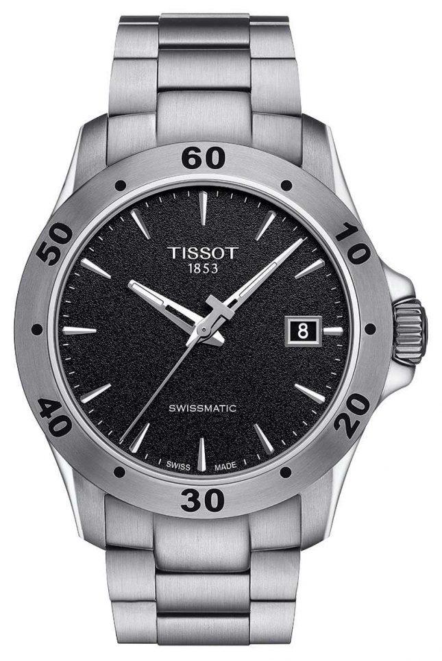 Tissot Mens V8 Swissmatic Black Dial Stainless Steel Bracelet T1064071105100