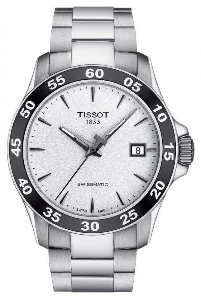 Tissot Mens V8 Swissmatic Silver Dial Stainless Steel Bracelet T1064071103100