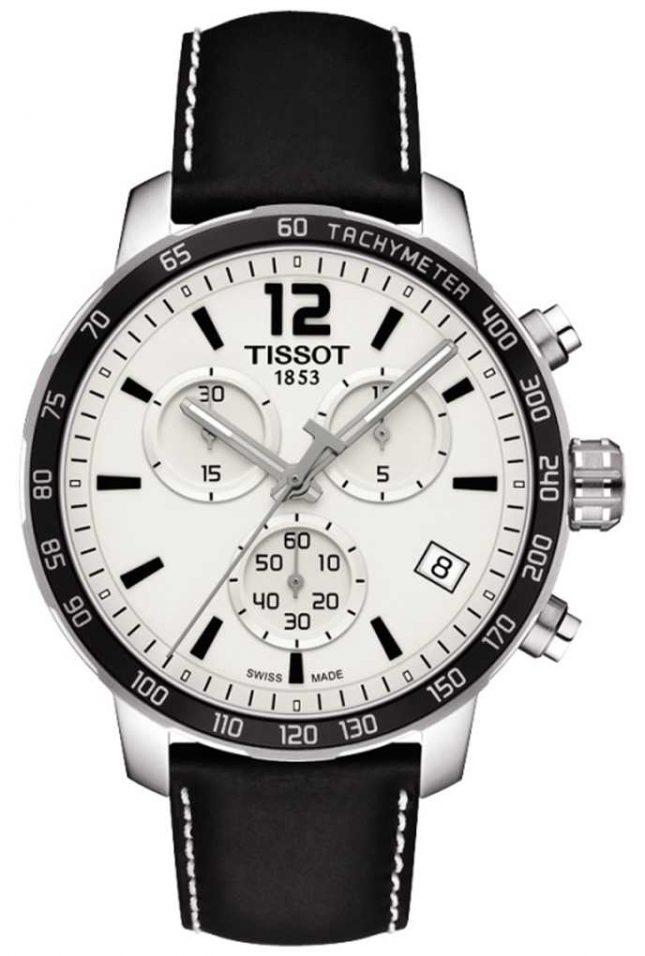Tissot Mens Quickster Chronograph White Dial Black Leather Strap T0954171603700