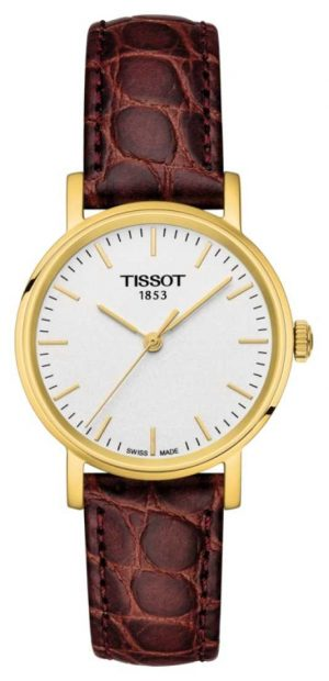 Tissot Womens Everytime Brown Leather Gold Plated Swiss Made T1092103603100